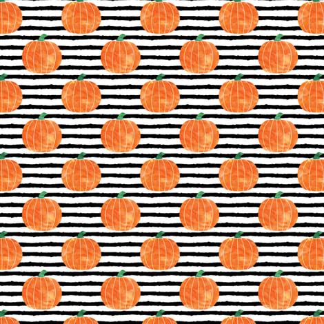 "1"" watercolor pumpkin on stripes - halloween/ fall fabric fabric by littlearrowdesign on Spoonflower - custom fabric"