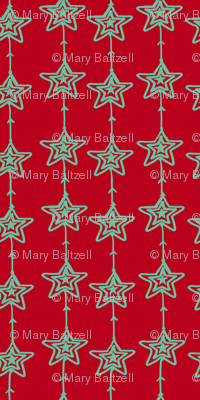 Christmas Stars Red and Mint