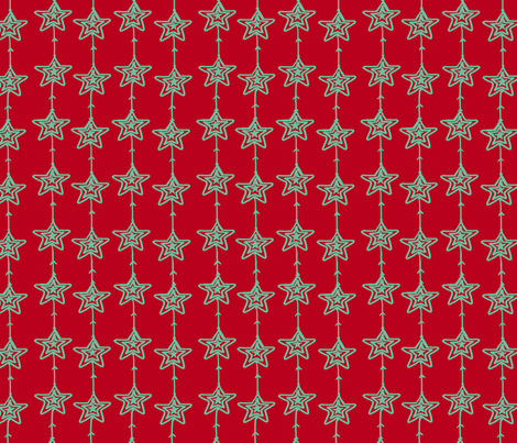 Christmas Stars Red and Mint fabric by fat_bird_designs on Spoonflower - custom fabric