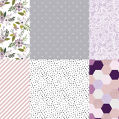 6 loveys: lavender sprigs and blooms, x 173-1, lace 89-1,  diagonal stripes 66-9, midnight snow, purple mermaid hexagons