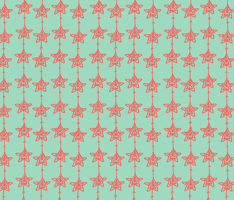 Christmas Stars mint pink fabric by fat_bird_designs on Spoonflower - custom fabric