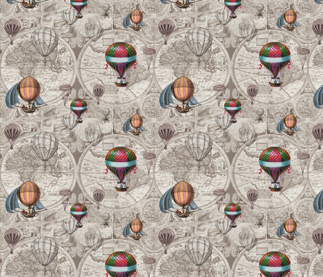 Hot Air Map Pattern fabric by aftermyart on Spoonflower - custom fabric