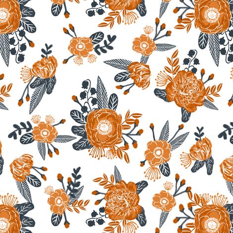 UT longhorns texas floral pattern print  fabric by charlottewinter on Spoonflower - custom fabric