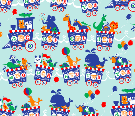 ALPHABET CIRCUS TRAIN fabric by bzbdesigner on Spoonflower - custom fabric