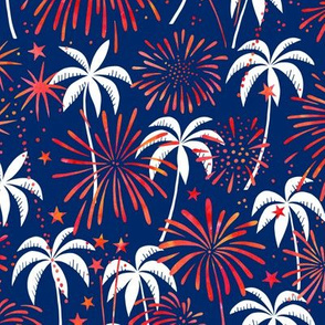 Hawaiian Fireworks with palm trees (red, white, blue)