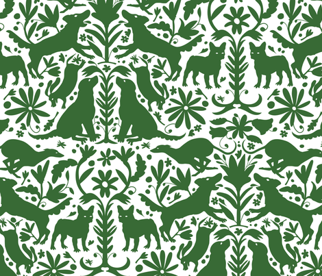 Dog Otomi Green fabric by kellybozarth on Spoonflower - custom fabric
