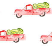 Red Farm Truck Watermelon Watercolor || Summer Fruit Food Green White_ Miss Chiff Designs