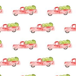 Farm Truck || Boy Red Watermelon Watercolor Vintage Car Summer Fruit Food Green White Modern Farmhouse _ Miss Chiff Designs