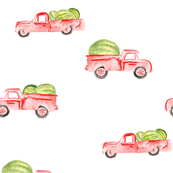 Red Farm Truck Watermelon Watercolor || Summer Food  Fruit White Green_Miss Chiff Designs