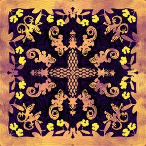 Hawaiian Gecko and Hibiscus Quilt - Mauve Purple Yellow