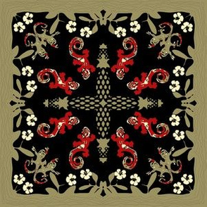 Hawaiian Quilt Square Geckos and Hibiscus Red Ivory Black Khaki