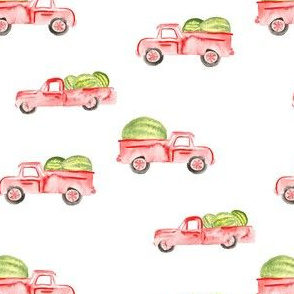 Red Farm Truck Watermelon Watercolor || Summer fruit food state fair_Miss Chiff Designs