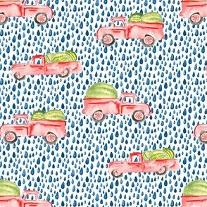 Red Farm Truck Watermelon Watercolor || Vintage  Car summer fruit food indigo blue spots_Miss Chiff Designs