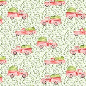 Red Farm Truck Watermelon Watercolor || Vintage Car Green Drops Summer Food Fruit_Miss Chiff Designs