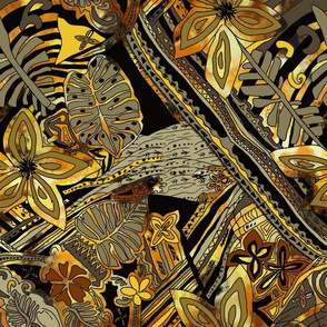 Hawaiian Gold Sun Fire Tropical Forest-Large Pattern