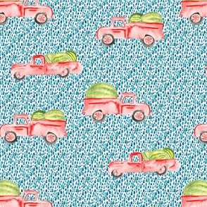 Red Farm Truck Watermelon Watercolor || Teal spots summer food fruit state fair_Miss Chiff Designs