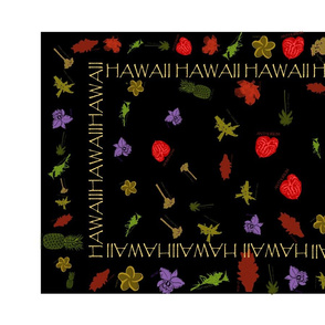 Tea Towel - Hawaiian Botanical Block Print- by kedoki
