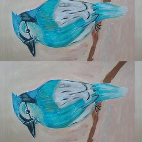 Blue bird on a beige background