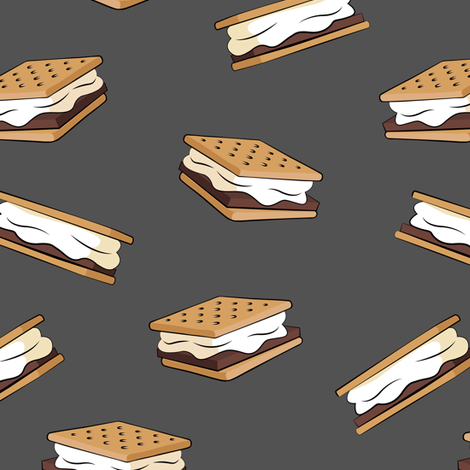 s'mores on grey fabric by littlearrowdesign on Spoonflower - custom fabric