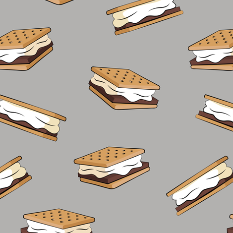 s'mores on light grey fabric by littlearrowdesign on Spoonflower - custom fabric