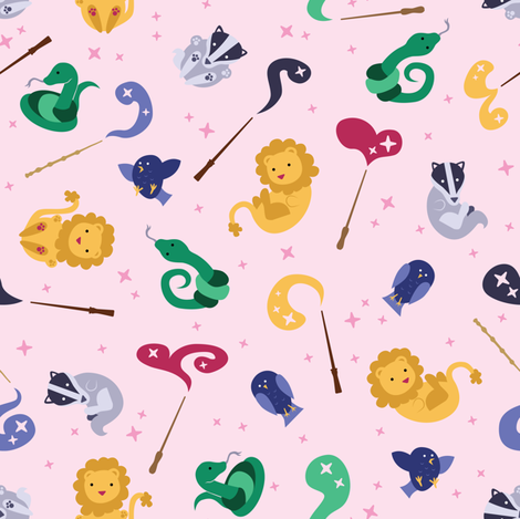 Baby Wizard Animals - Light Pink fabric by kritterstitches on Spoonflower - custom fabric