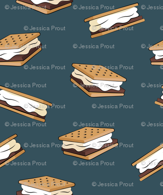s'mores - camping fabric (dark blue)