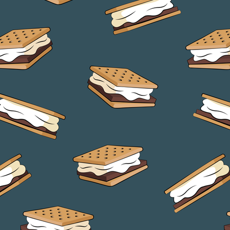 s'mores - camping fabric (dark blue) fabric by littlearrowdesign on Spoonflower - custom fabric