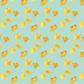 Fall Golden Gingkos on seafoam