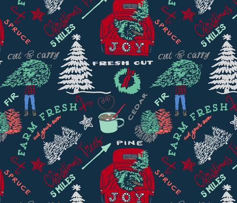 Farm Fresh Christmas  fabric by fat_bird_designs on Spoonflower - custom fabric