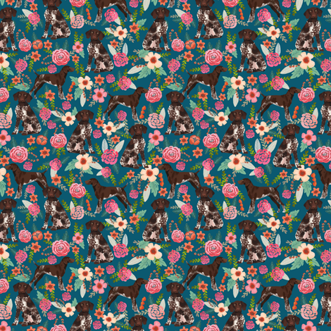 german shorthaired pointer floral dog print mini micro print fabric by petfriendly on Spoonflower - custom fabric