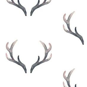 Grunge Watercolor Antlers