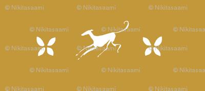 flying greyhound, white, brown