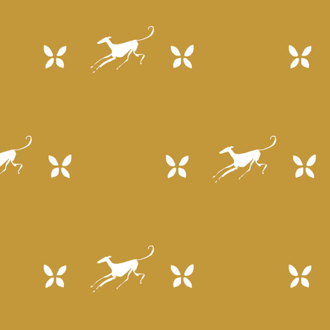 flying greyhound, white, brown fabric by nikitasaami on Spoonflower - custom fabric