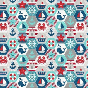 nautical baby - hexagonal quilt, mini