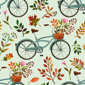 autumn bike ride - light mint, large