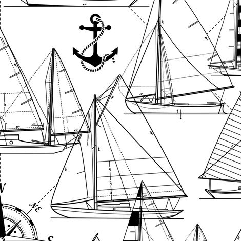 sailboats - black on white fabric by mirabelleprint on Spoonflower - custom fabric