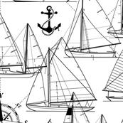 sailboats - black on white