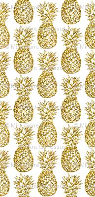 gold glitter classic pineapples - white
