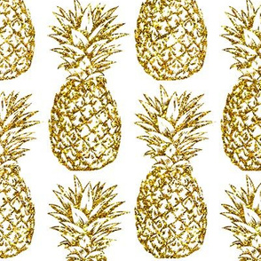 gold glitter classic pineapples - white