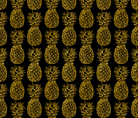 gold glitter classic pineapples - black fabric by mirabelleprint on Spoonflower - custom fabric