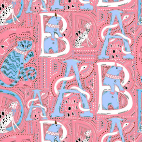 Circus alphabet in pink and baby blue
