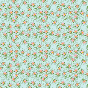 Naive PInk Flowers on Light Blue