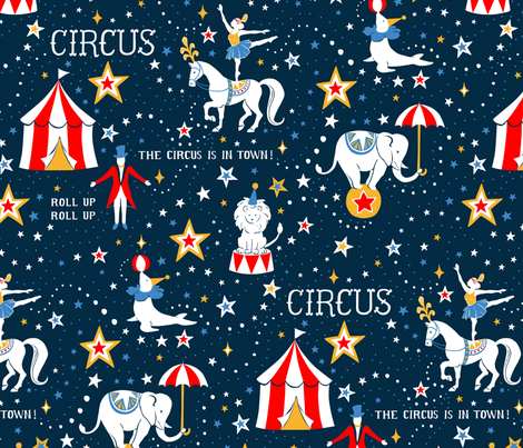 Retro Circus fabric by hazelfishercreations on Spoonflower - custom fabric