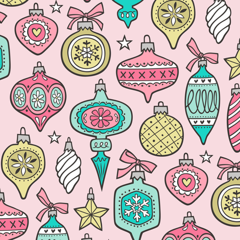 Vintage Christmas Holiday Ornaments & Stars Pink Mint Gold Yellow on Pink fabric by caja_design on Spoonflower - custom fabric