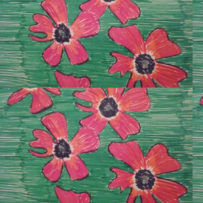 Orange flowers on a green background