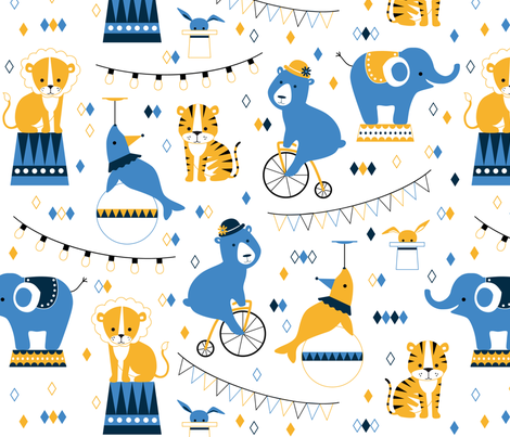 Circus animals fabric by heleenvanbuul on Spoonflower - custom fabric