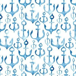 Nautical watercolor anchor Indigo || Boat  white || ocean water beach vacation _ Miss Chiff Designs