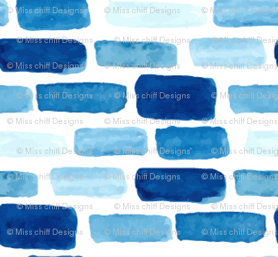 Indigo Blue Watercolor spots || nautical water summer brick abstract white _ Miss Chiff Designs