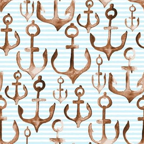 Anchor Watercolor Nautical || Boat Brown Baby Blue stripe || white tan ocean water beach_miss chiff designs