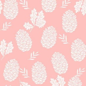 pinecone fabric // pinecone winter camping woodland linocut fabric - pink